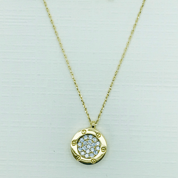 Real Gold Round Necklace CR - 18k Gold Jewelry