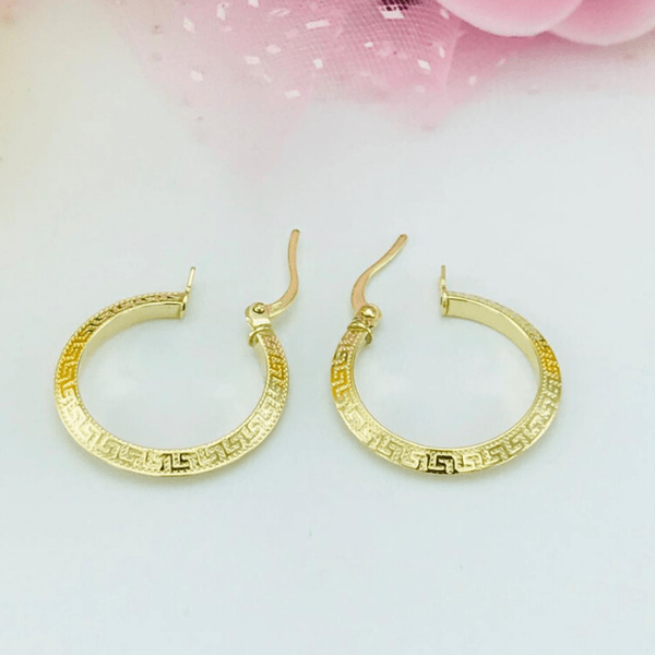 Real Gold Round Maze Hoop Earring Set B 2020 - 1