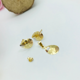 Real Gold Fine Drop 3C Flower Leaf Earring Set With Pendant - 18K Gold Jewelry