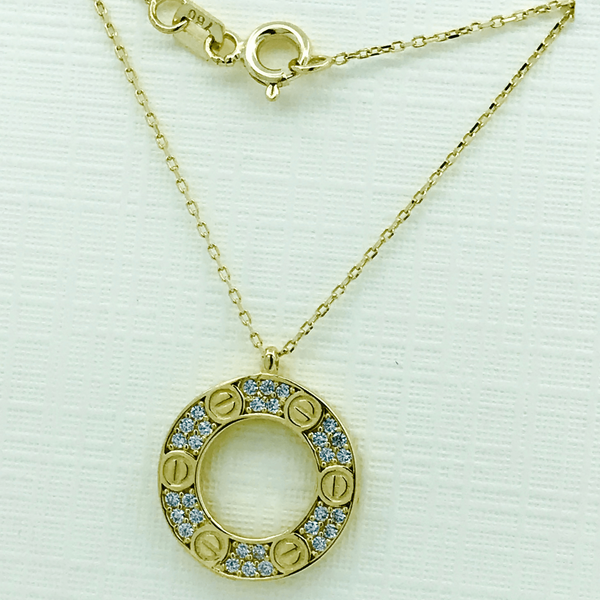 Real Gold CR Hollow Necklace - 18k Gold Jewelry