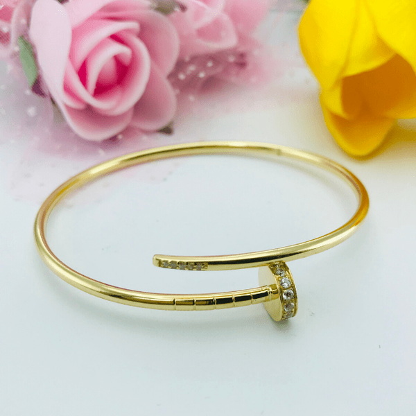 Real Gold CR Stone Nail Bangle - 18K Gold Jewelry