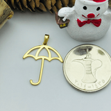 Real Gold Umbrella Pendant - 18K Gold Jewelry