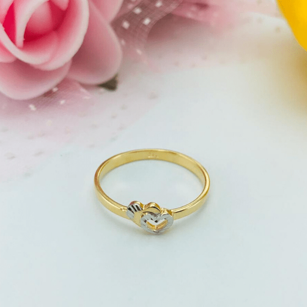 Real Gold 2C 2 Heart Ring 2020-002 (SIZE 7.5)