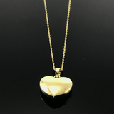 Real Gold Smooth 3D Heart Necklace - 18k Gold Jewelry