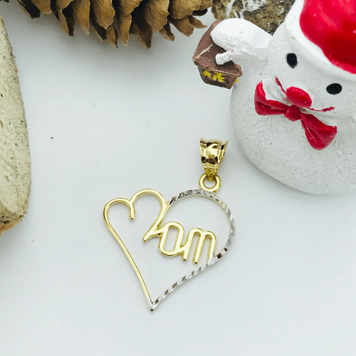 Real Gold Mom Heart Pendant 497