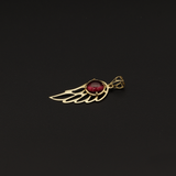 Real Gold Wing With Red Stone Pendant