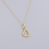 Real Gold Side Hook Heart Necklace CWP998 - 18K Gold Jewelry