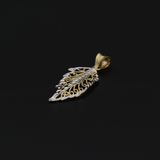 Real Gold 2 Color Leaf Pendant - 18K Gold Jewelry