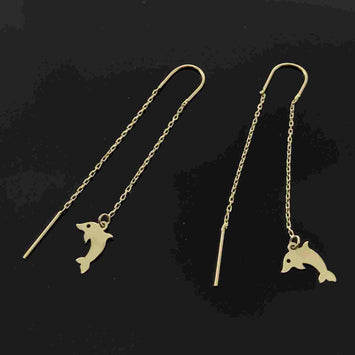 Real Gold Hanging Dolphin Fish Earring Set - 18K Gold Jewelry