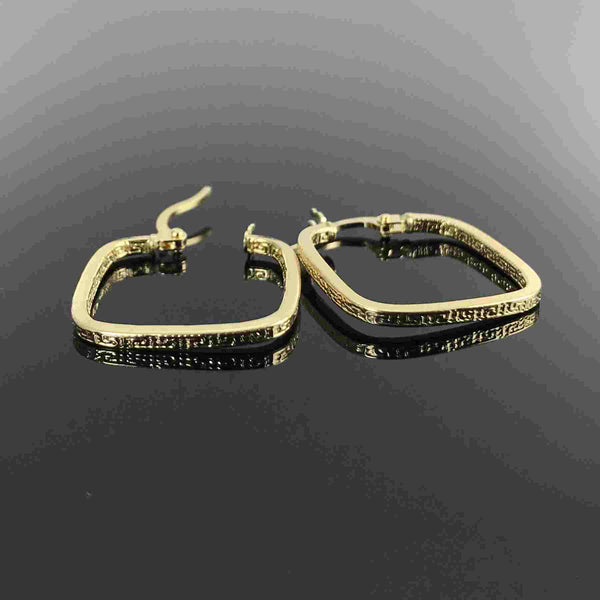 Real Gold Maze Hoop Square Earring Set - 18k Gold Jewelry