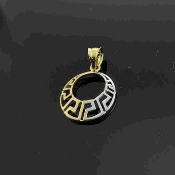 Real Gold Maze Hoop Moon Pendant - 18k Gold Jewelry