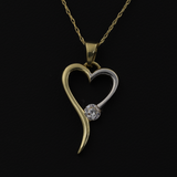 Real Gold 2C Heart Stone Necklace 001