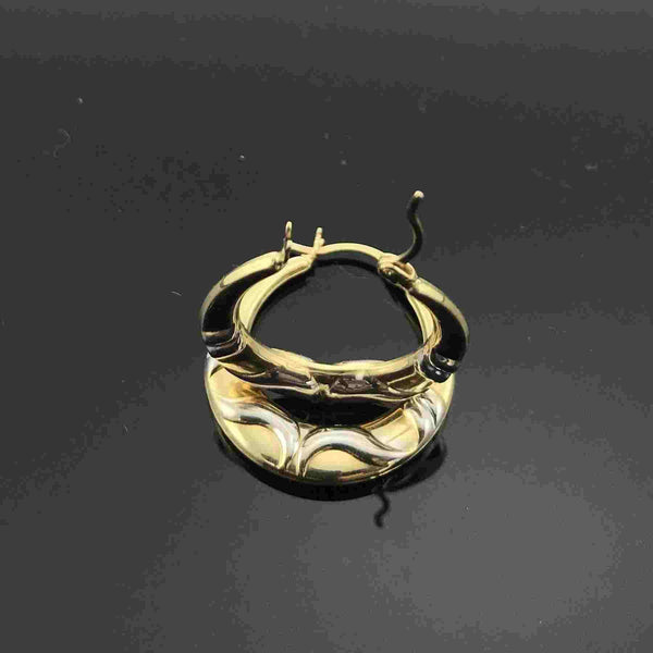Real Gold 2 Color Round 001 Earring Set - 18k Gold Jewelry