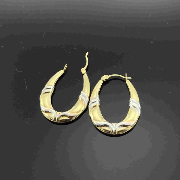 Real Gold 2 Color Oval Earring Set 001 - 18K Gold Jewelry