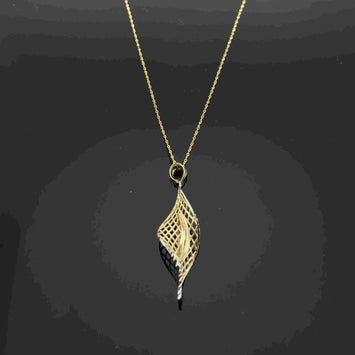 Real Gold Chain With Gold Twisted Leaves Pendant - 18K Gold Jewelry