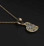 Real Gold 2C Curved Net Heart Necklace - 18K Gold Jewelry