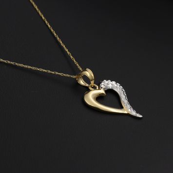 Real Gold 2C Heart Necklace 001