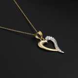 Real Gold 2C Heart Necklace 001 - 18K Gold Jewelry