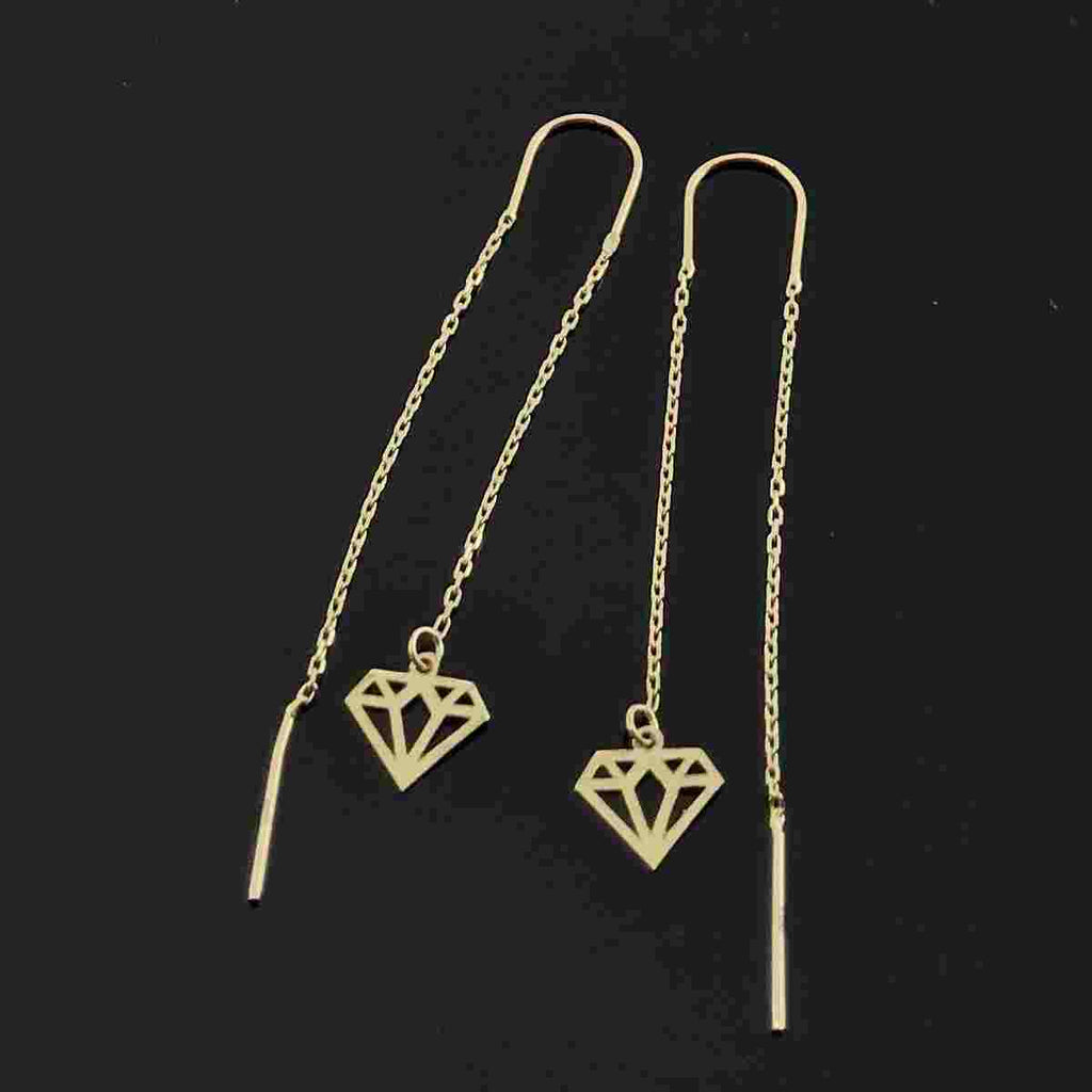 Real Gold Hanging Diamond Earring Set - 18k Gold Jewelry