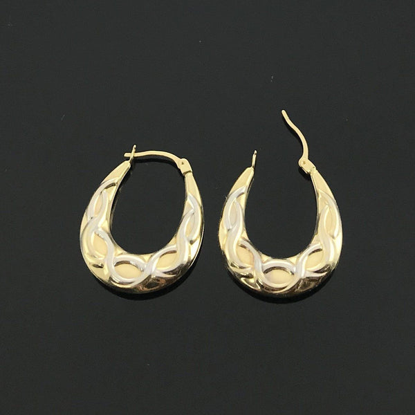 Real Gold 2 Color Oval Earring Set - 18k Gold Jewelry