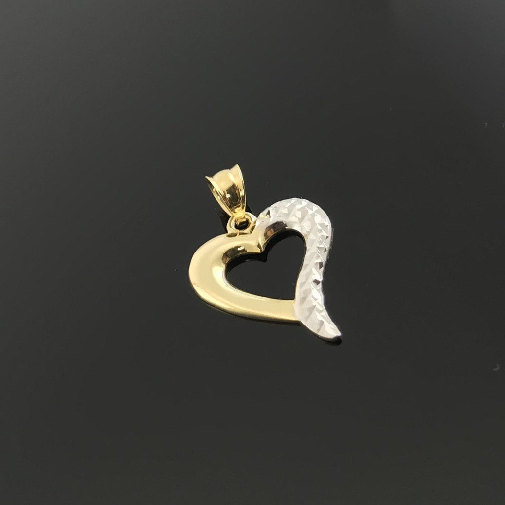 Real Gold 2C Heart Pendant 001 - 18k Gold Jewelry