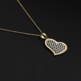 Real Gold 2C Net Heart Necklace 001