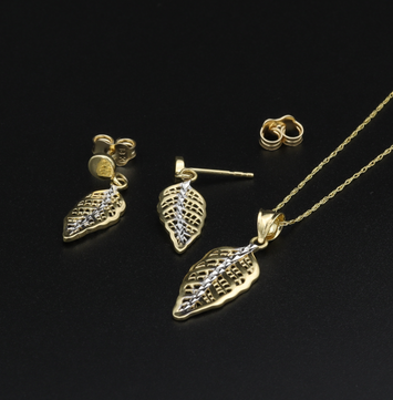 Real Gold 2 Color Leaf Earring Set + Pendant + Chain 0642