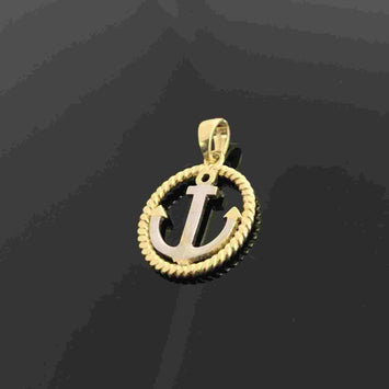 Real Gold 2C Round Anchor Pendant - 18K Gold Jewelry