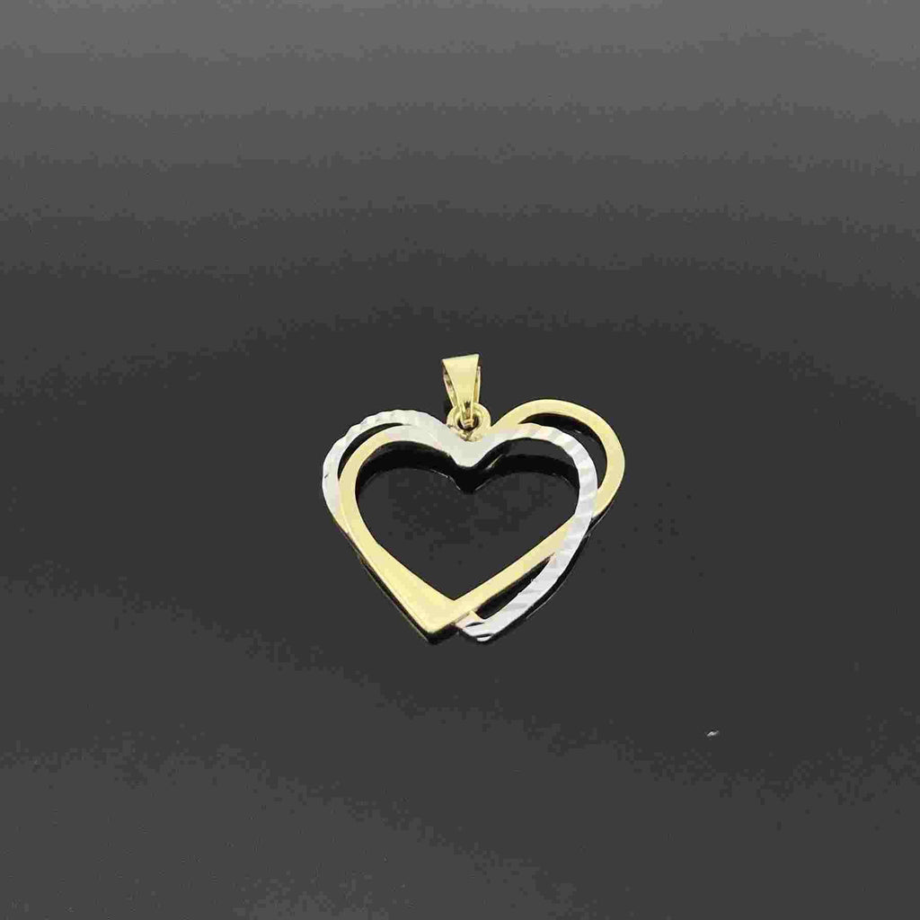 Real Gold 2C 2 Heart Pendant 001 - 18K Gold Jewelry