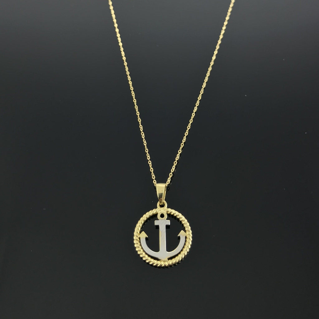 Real Gold 2C Round Anchor Necklace - 18K Gold Jewelry