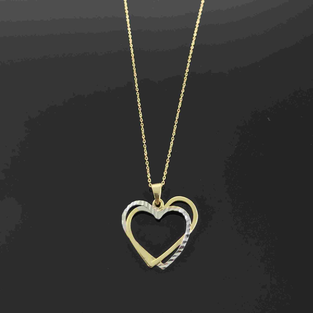 Real Gold 2C 2 Heart Necklace 001 - 18K Gold Jewelry