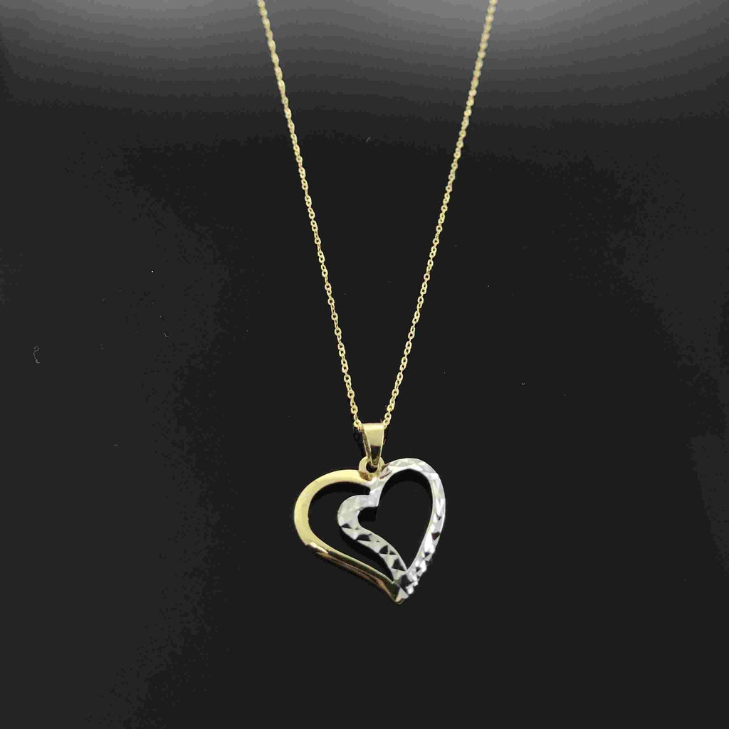 Real Gold 2C2 Heart Necklace 002 - 18k Gold Jewelry