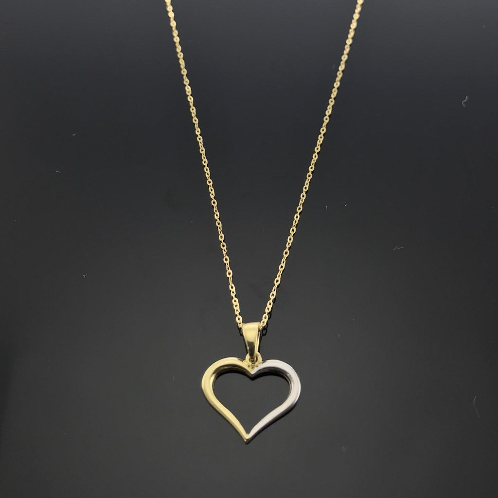 Real Gold 2C Heart Necklace 004 - 18k Gold Jewelry