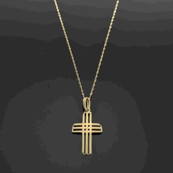 Real Gold Cross Necklace 106 - 18k Gold Jewelry