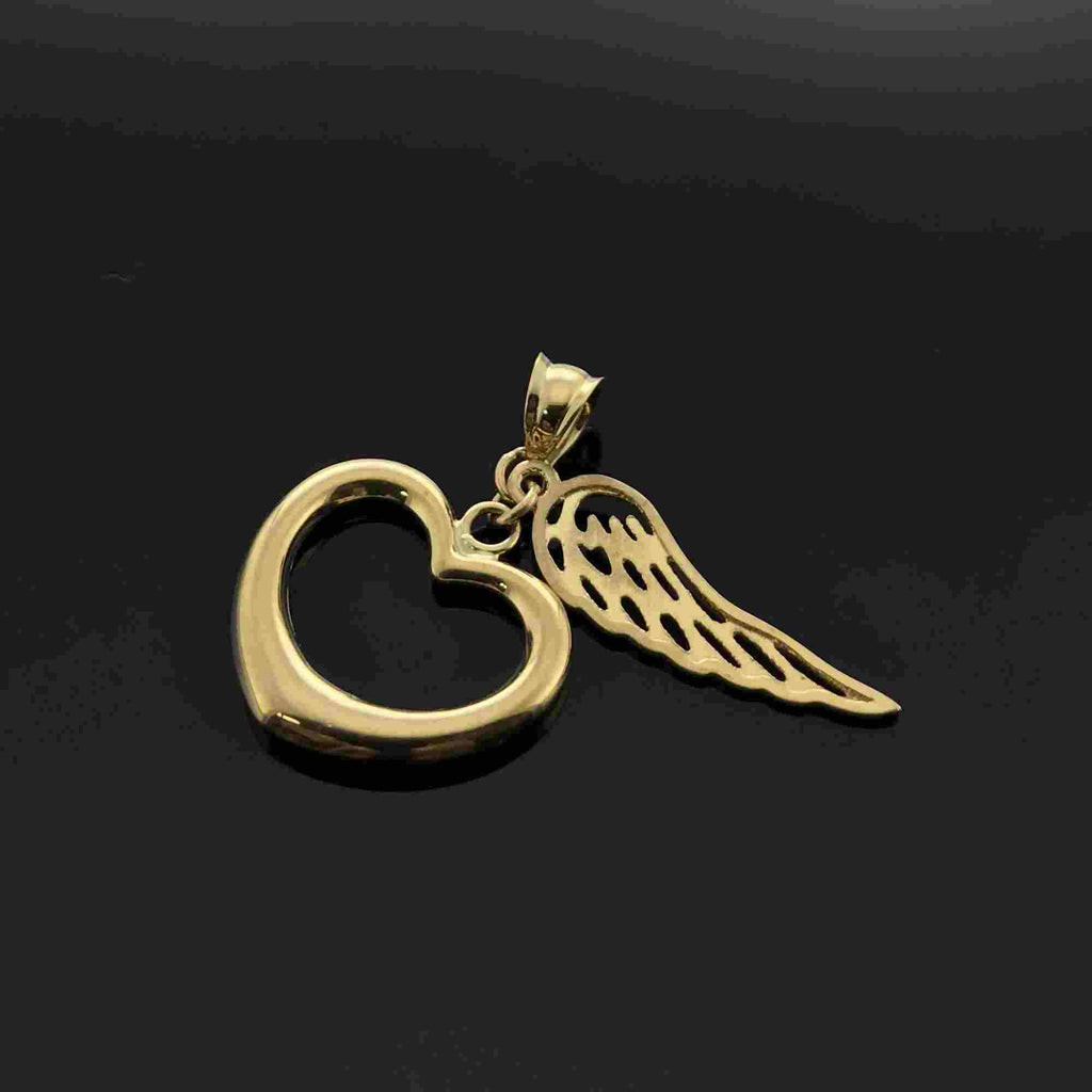 Real Gold Heart 2 Side Wing Pendant - 18k Gold Jewelry