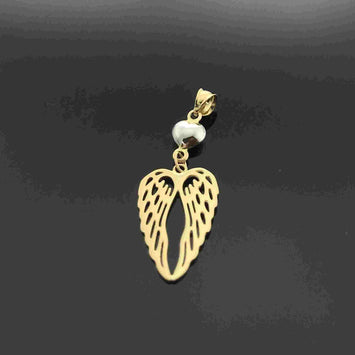 Real Gold 2 Wing Heart Pendant - 18K Gold Jewelry
