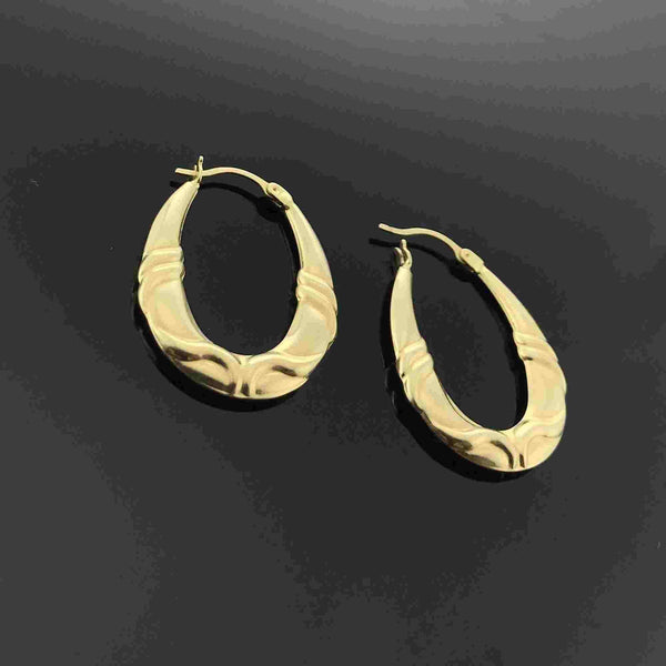 Real Gold 1 Color Oval Earring Set 001 - 18K Gold Jewelry