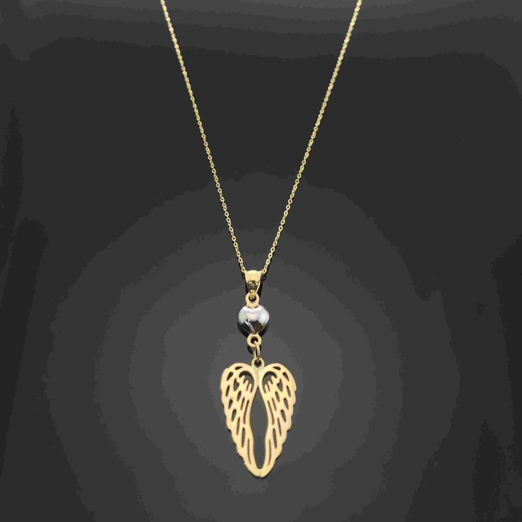 Real Gold 2 Wing Heart Necklace - 18k Gold Jewelry