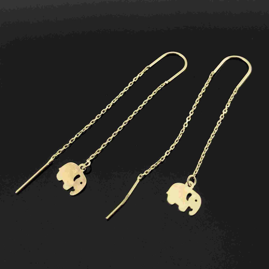 Real Gold Hanging Elephant Earring Set - 18k Gold Jewelry