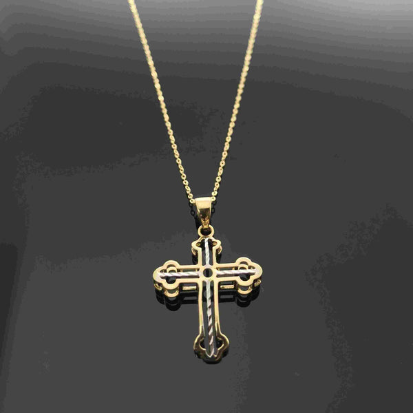 Real Gold 2C 3D Cross Necklace - 18k Gold Jewelry