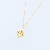 Real Gold 3D Heart Necklace 0230