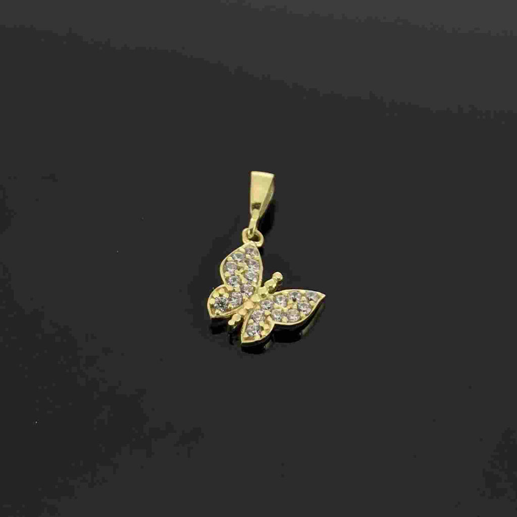 Real Gold Side Hook Stone Butterfly Pendant - 18k Gold Jewelry