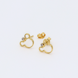 Real Gold Mickey Earring Set 0640 - 18K Gold Jewelry