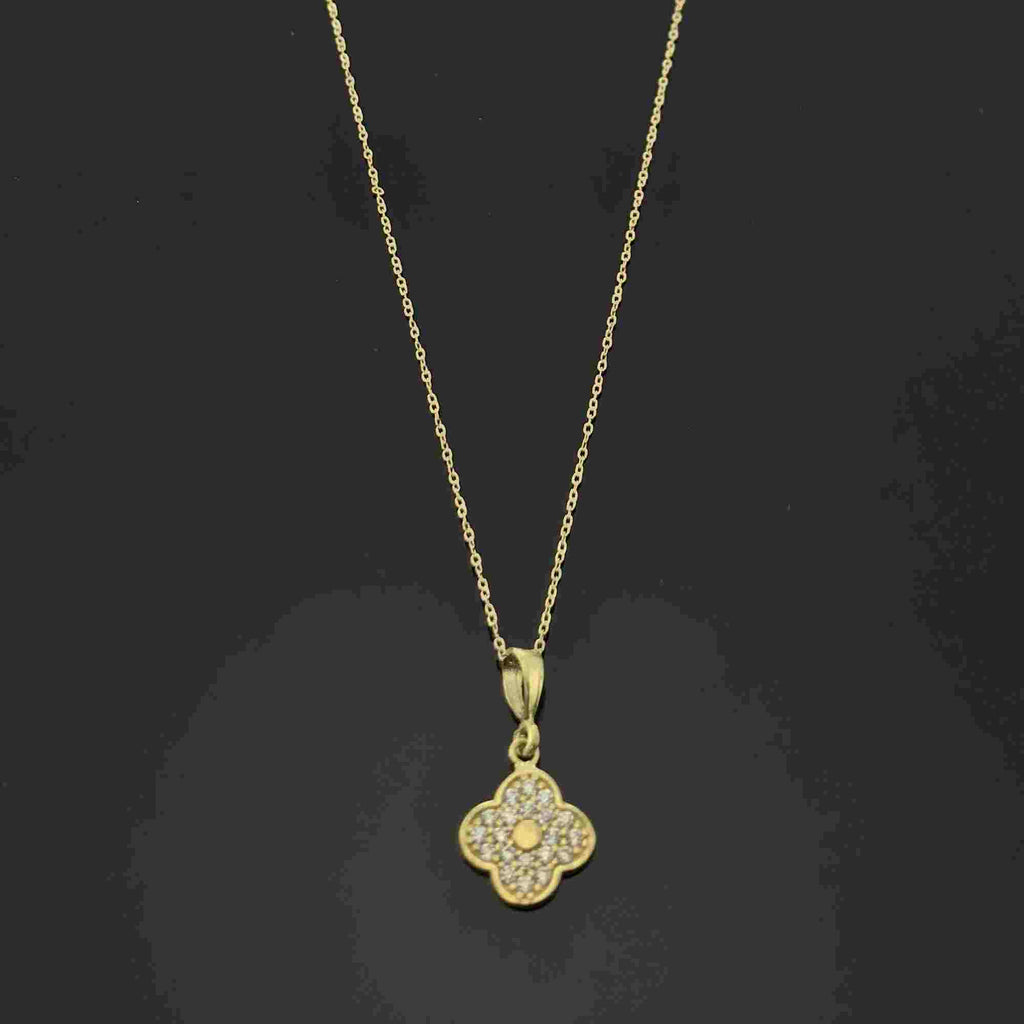 Real Gold 4 Leafs Necklace - 18k Gold Jewelry