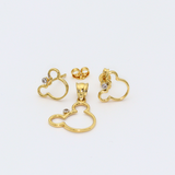 Real Gold Mickey Earring Set + Pendant 0640