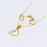 Real Gold Mickey Earring Set + Pendant + Chain 0640