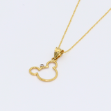 Real Gold Mickey Necklace 0640
