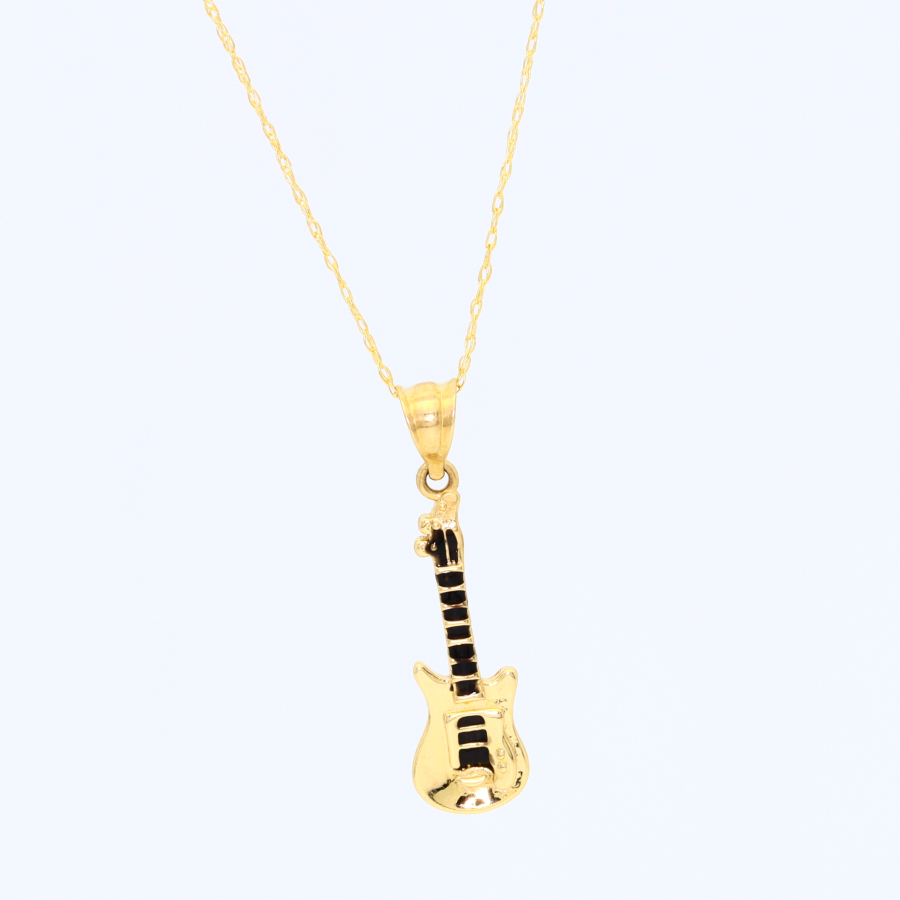 Real Gold Guitar Necklace 2491 - 18K Gold Jewelry