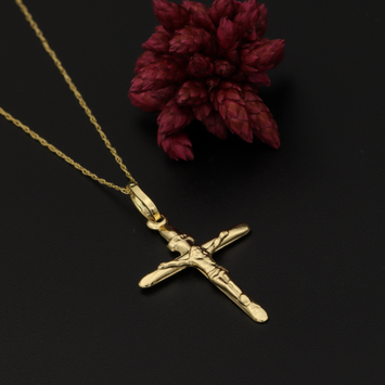Real Gold One Side Jesus Cross Necklace 1C-2020