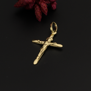 Real Gold One Side Jesus Cross Pendant 1C-2020